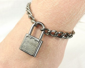 Male Submissive Bracelet Locking Jewelry mature Padlock bracelet Slave Bracelet