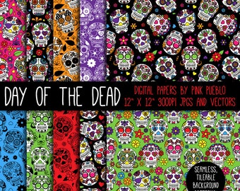 Day of the Dead Skulls Digital Paper, Day of the Dead Halloween Digital Scrapbook Paper - Commercial and Personal Use