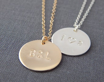 "Large 5/8"" Personalized Disc Layering Necklace - Hand Stamped Initial Pendant, Minimalist, Wedding Jewelry, Bridesmaid Gift, Gifts For Her"