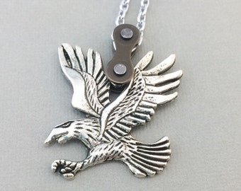 Eagle bicycle chain necklace, bicycle jewelry, cycling pendant, bird bicycle necklace, cycling jewelry, bmx pendant
