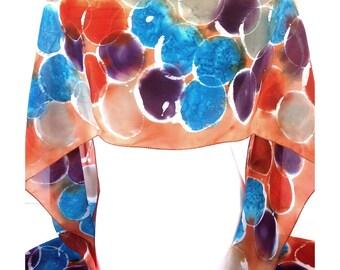 Orange silk scarf Hand painted silk scarf Indian silk scarf Orange scarf Circle print scarf Canadian sellers Womens scarves Popular item
