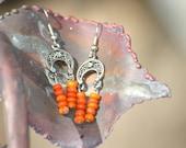 orange beaded earrings, Mothers day gift, orange beads, beads, earrings, dangle earrings, jewelry, vintage jewelry