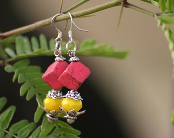 Beaded Earrings, Earrings, Pink, yellow, dangle earrings, sterling earrings, beads, summer, fashion, chic, stars