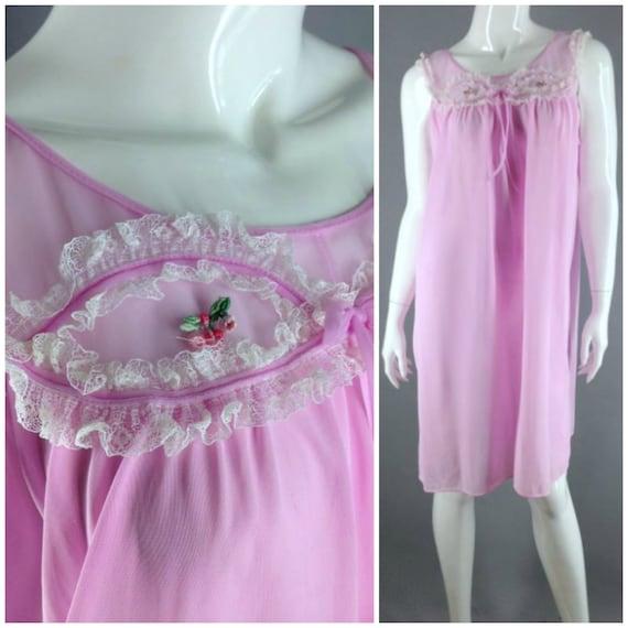 Vintage 60s nightie Man Men Sheer nightie Pink nightgown pajamas lingerie negligee pj's night Dress night Gown M