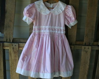 Pink & White Vintage Gingham Dress with Flowers