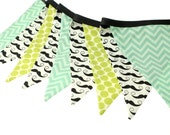 Little Man - Green Dot & Aqua Chevron Mustache Fabric Pennant Bunting Banner -  party decor, nursery, playroom, photo prop