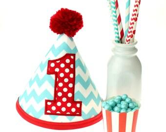 Aqua Chevron & Red Polka Dot Fabric Birthday Hat