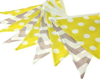 Citron Dot and Grey Chevron Fabric Pennant Bunting Banner - great for birthday party decor, nursery, playroom, cake smash photo prop