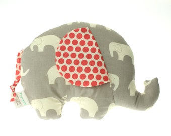 Mod Basics Elephant  - Small Softie - Eco-friendly Edition - Grey & Coral