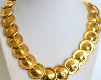 Monet Coin Link Necklace Gold Tone