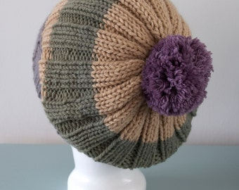 Green Beanie Hat - Beige Gray Knitted Slouch Merino Wool Purple Pom Pom Hat Unisex Winter Accessory by Emma Dickie Design