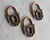 Lock Pendant Charms, Antique Copper Padlock, Pure Copper over Pewter, 18.5 x 12.3 x 2.5mm, 3 Pcs.