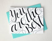 You are the best - one card with a turquoise envelope
