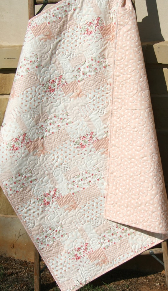 Last One Shabby Chic Baby Girl Quilt Cottage Style Pastel