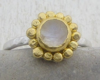 Moonstone Ring - 24k Gold Moonstone Ring - Engagement Ring - Gemstone Ring - READY TO SHIP