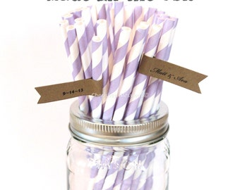 Lavender Paper Straws, 50 Purple, Lilac, Made In USA, Vintage Baby Shower, Princess Party, Rustic Wedding, Party Supplies, Cake Pop Sticks