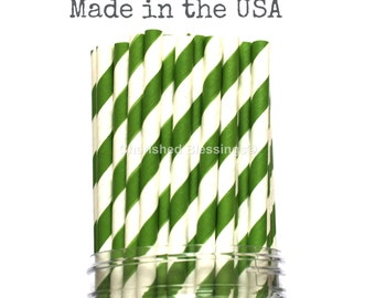 100 Green Paper Straws, Wedding Table Setting, Paper Goods, Rustic Baby Shower Party Supplies, Drinking Straws, Made in USA, Vintage Straws,