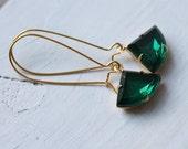 Emerald Green Art Deco Earrings