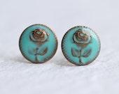 Turquoise Rose Earrings ... Flower Earrings Leaf Jewelry Vintage Stud Post Earrings