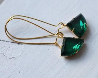 Emerald Green Art Deco Earrings ... Vintage May Birthstone