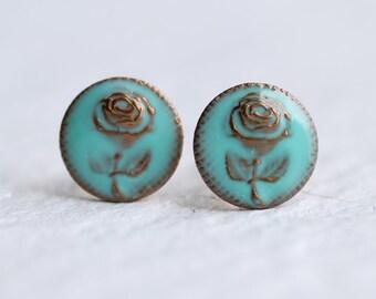 Turquoise Rose Earrings ... Flower Earrings Vintage Stud Post
