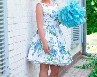 """Sale - floral bridesmaid dress- Blue Roses Dress- Sale - Last one, bust size 34"""", SALE"""