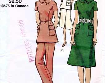 Vogue 8084 Vintage 70s Misses' One or Two Piece Dress and Pants Sewing Pattern - Uncut - Size 14 - Bust 36
