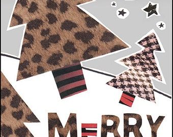 Leopard Print Christmas Card, Cheetah Print Merry Xmas Card, Red White and Black Collage Greeting Card
