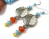 Sun Earrings, Silver Sun Beaded Dangles, Boho Sun Earrings Handmade, Long Dangles, Southwest Tribal Style Jewelry, Turquoise and Czech Glass