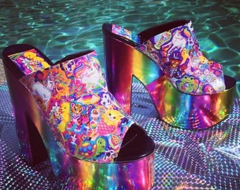 90's Lisa Frank Rainbow Heel Platform Wedge slides // custom order your size