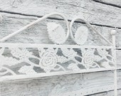 48 Hole Earrings Jewelry Display Rack-Metal Stand Holder Showcase in Shabby White-Display-Earring Holder Jewelry Organizer-Roses Leaves