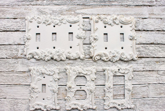 Decorative Plates In Shabby White Switch Cover Lightswitch