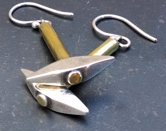 Pickaxe Earrings- Archaeologist Gift- Coal Miner Jewelry- Fine Silver Jewelry- 22k Gold Dangle Earrings- Industrial Jewelry- Archaeology