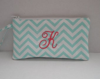 Pencil Case - Turquoise Pouch - Personalized - Initial Monogram - Pencil Pouch - Small Gift - Pencil Bag - Handmade - Free Monogram