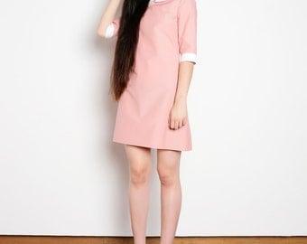 Peter pan collar dress cotton pink white bishop mod 1960s dress