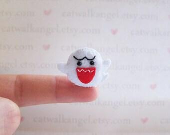 Felt Miniature - Felted Miniature ghost - Felted ghost - ghost felted miniature - ghost miniature - tiny ghost - super mario ghost
