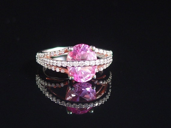 Crossover Ring Pink CZ Sterling Silver Size 6 by VintageGemz