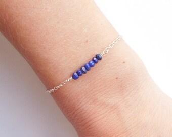 Blue Lapis Lazuli Bracelet in Sterling Silver