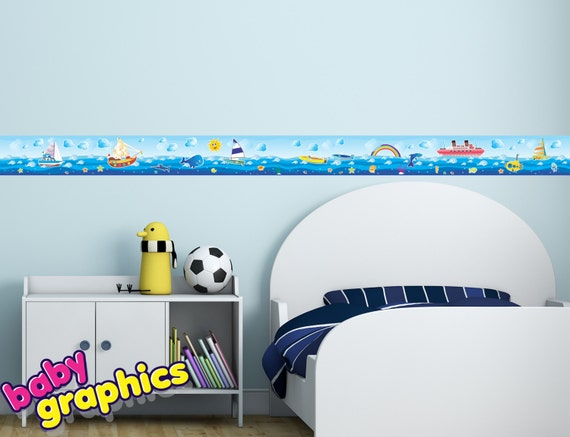 sea life, boats, ships, ocean, fish wall border stickers - 6.5 feet long & 5.5 inches wide (2 m x 14 cm) - removable (babygraphics)