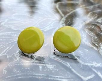 Avocado Green Bakelite Earrings
