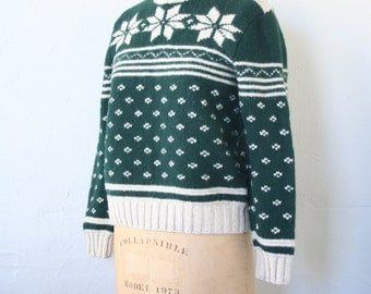 90s Ralph Lauren fair isle snowflake ski sweater - hand knit lambswool sweater / Polo by Ralph Lauren sweater / 80s holiday sweater