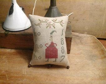 Primitive cross stitch HoHoHo 1887 hanging sampler cupboard tuck pinkeep