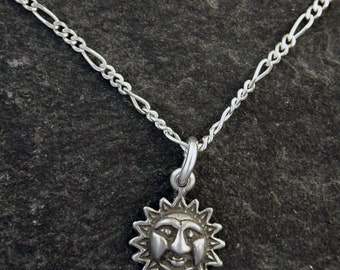 Sterling Silver Sun Pendant with a Sterling Silver Chain