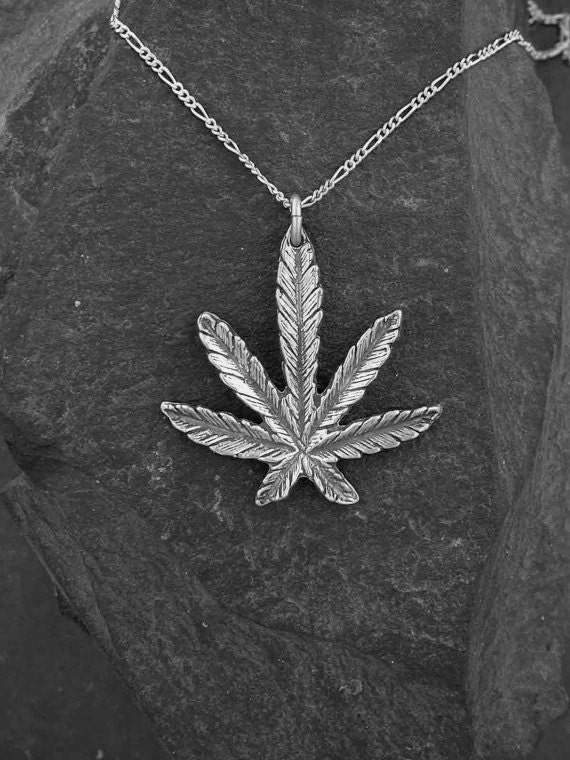 Sterling silver marijuana pot leaf pendant on sterling silver like this item mozeypictures Images