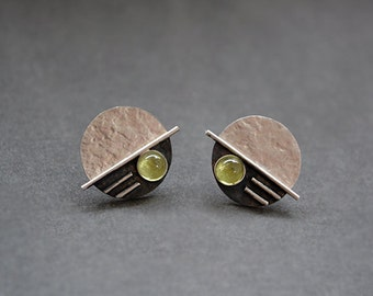 Silver earrings. Sterling silver stud earrings with peridot. Silver post earrings. Silver jewellery. Handcrafted. MADE TO ORDER