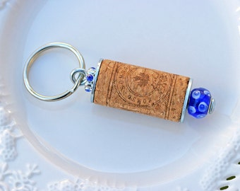 Wine Cork Keychain, Blue and White Wine Cork Keychain, Keychain, Wine Cork, Wine Cork Key Ring, Key Ring, Cork Keychain, Cork Key Ring