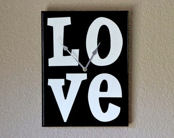 LOVE Wall Clock, Home Decor, Love Clock, Wall Clock, Wall Decor, Black & White Clock, Home Wall Decor, Wall Art, Love Wall Clock