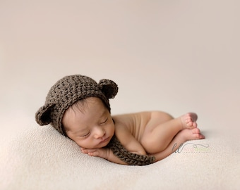 Newborn natural eco-wool Bear bonnet