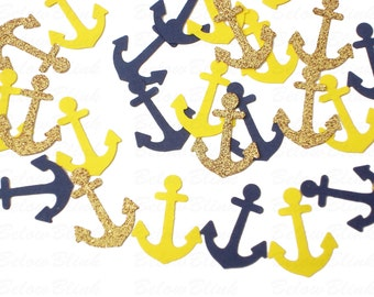 100 Nautical Glitter Gold Navy Yellow Anchors punch die cut confetti scrapbook embellishments - No290