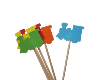 24 Primary Colors Train Party Picks, Toothpicks, Food Picks, Cupcake Toppers - party supplies - No1068